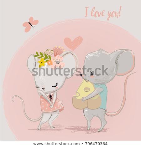 Házasság egerek illusztráció esküvő szív egér Stock fotó © adrenalina