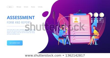 Işçi değerlendirme iniş sayfa şablon değerlendirme Stok fotoğraf © RAStudio