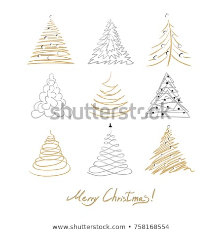 hand drawn outline christmas balls collection for coloring stock photo © balasoiu