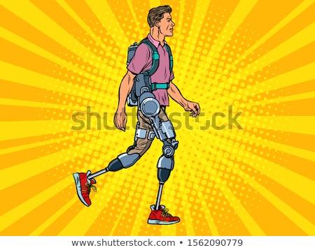 Mozgássérült férfi veterán rehabilitáció kezelés gyógyulás Stock fotó © studiostoks