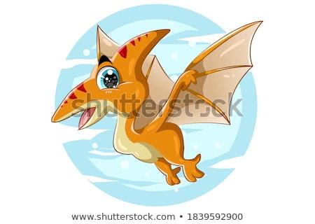 Cartoon cute monster Dinosaur, funny green dragon, little Dino drawing. Vector Stock photo © Andrei_