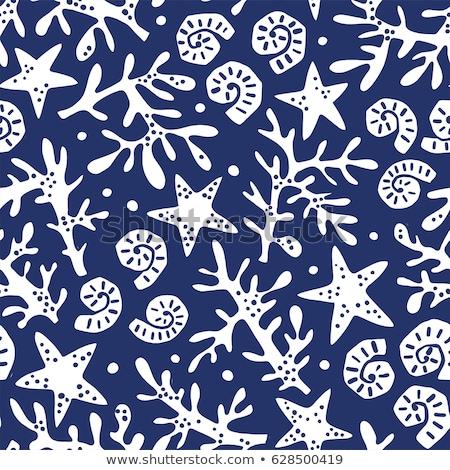 Senza soluzione di continuità design conchiglie blu illustrazione mare Foto d'archivio © bluering