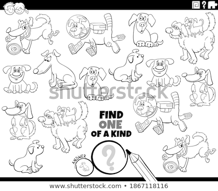 one of a kind game with dogs coloring book page Stock photo © izakowski