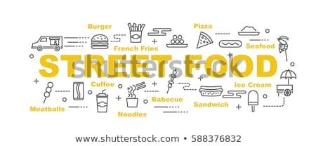 уличной еды огромный гамбургер бизнесмен женщину еды Сток-фото © RAStudio