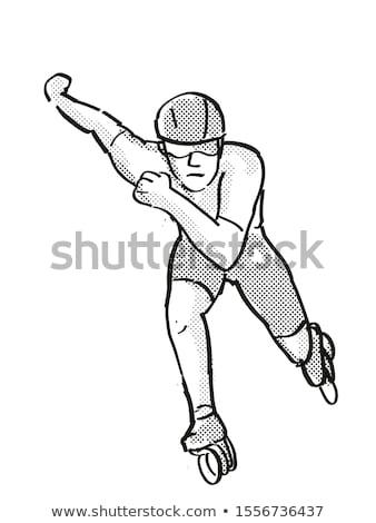Atlet patenci hızlandırmak pateni karikatür Retro Stok fotoğraf © patrimonio