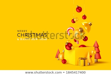 Merry Christmas card 3d pine tree and red bauble Stock photo © cienpies