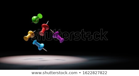 Colorful Thumbtack Spotlighted on Black Background 3D Illustration Stock photo © make