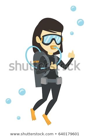 Dziewczyna rurka do nurkowania odizolowany ilustracja wody uśmiech Zdjęcia stock © bluering