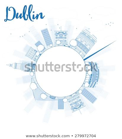 Skicc Dublin sziluett kék épületek copy space Stock fotó © ShustrikS