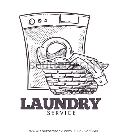 Laundry Basket Filled Dirty Textile Clothes Vector Stock photo © pikepicture