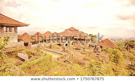 Elhagyatott titokzatos hotel Indonézia Bali sziget Stock fotó © galitskaya