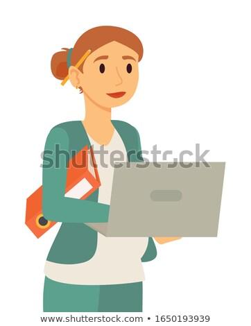 妊娠 作業 ノートパソコン ベクトル 妊婦 女性実業家 ストックフォト © robuart