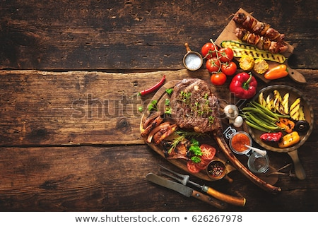 grilled vegetables and ribs Stock photo © tycoon