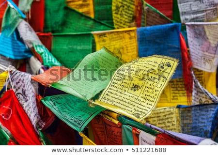 Buddhista ima zászlók buddhizmus mantra nyelv Stock fotó © dmitry_rukhlenko