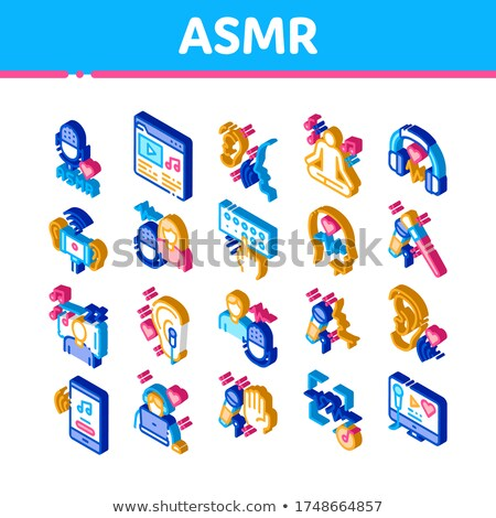 Asmr Sound Phenomenon Isometric Icons Set Vector Stock photo © pikepicture