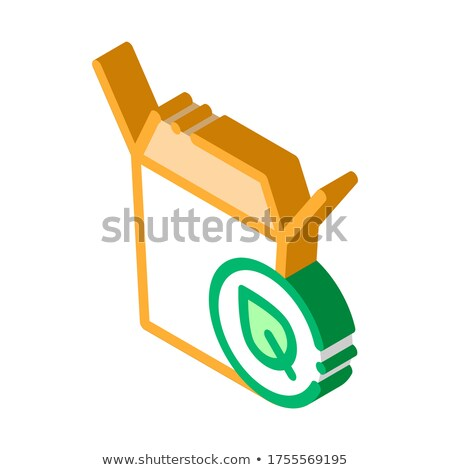 Carton Box For Food With Plant Leaf isometric icon Stock photo © pikepicture