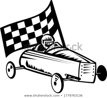 Vintage Soap Box Derby or Soapbox Car Racer Racing Flag Retro Black and White Stock photo © patrimonio