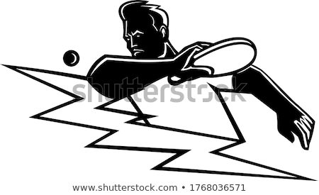 Table Tennis Player Striking Ping Pong Ball Lightning Bolt Mascot Black and White Stock photo © patrimonio