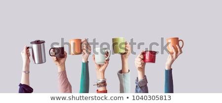 Foto stock: Mão · caneca · de · café · branco · café · mulheres