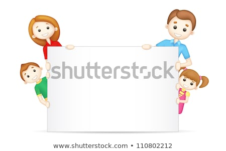 3d happy family behind a billboard stock photo © dacasdo