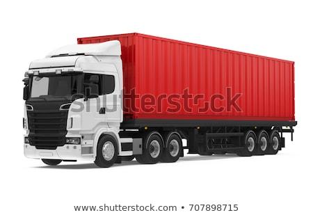 красный · грузовика · белый · путешествия · движения · трактора - Сток-фото © njaj