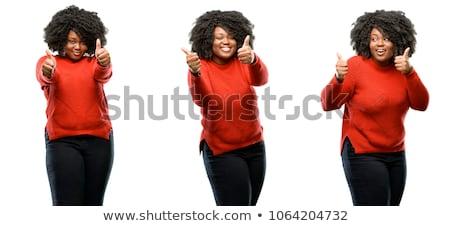 Bueno muestra de la mano feliz mujer positivo Foto stock © darrinhenry