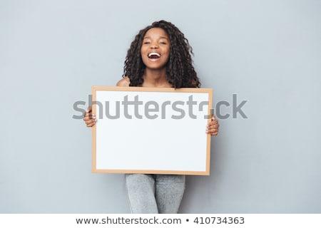 boldog · afroamerikai · nő · tart · névjegy · gyönyörű - stock fotó © darrinhenry