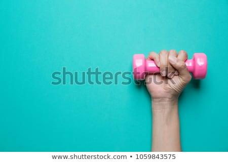 ピンク ダンベル 手 女性 白 スポーツ ストックフォト © Lupen
