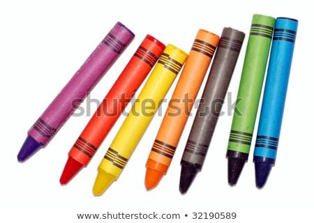 usado · cera · giz · de · cera · colorido · velho · caixa - foto stock © stoonn
