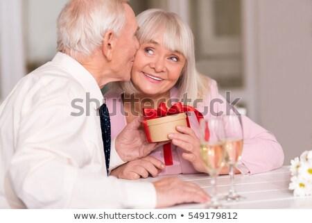 Senior couple celebrating anniversary in a restaurant Stock photo © photography33