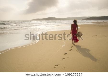 footprints on a wild beach stock photo © smithore
