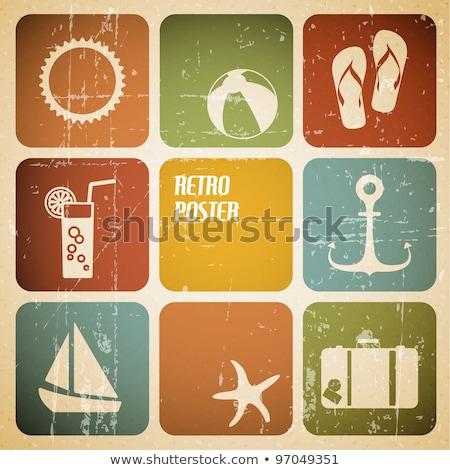 vetor · verão · cartaz · ícones · retro · cor - foto stock © orson