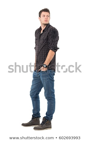 élégant jeune homme shirt denim jeans Photo stock © lunamarina