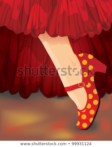 Espanhol cartão feminino pé flamenco sapatos Foto stock © carodi