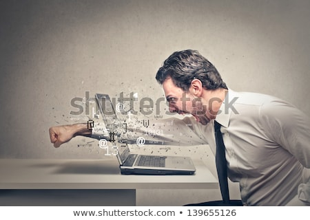 Woedend man schrijven notebook geïsoleerd witte Stockfoto © smithore