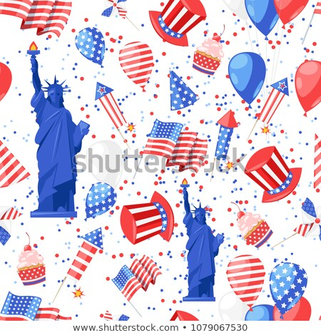 Foto stock: Holiday Fireworks Seamless Pattern With American Hat