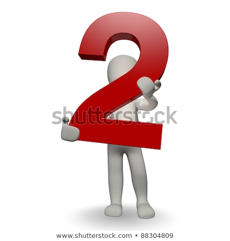 Stock photo: 3D Human character holding number two