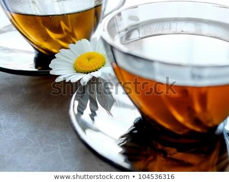 Primo piano coppe tè camomilla due fiore Foto d'archivio © aniriana