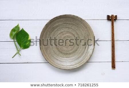 Японский посуда палочки для еды чаши изолированный белый Сток-фото © Arsgera