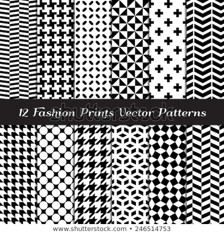 Stock photo: Circles two tone seamless vector pattern in black and white and