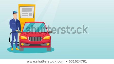 mulher · gasolina · bocal · alto - foto stock © zastavkin