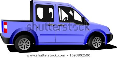 Licht paars levering minibus deur bus Stockfoto © leonido