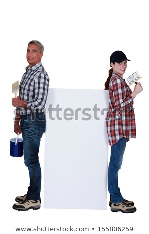 Father and daughter forming decorating team Stock photo © photography33