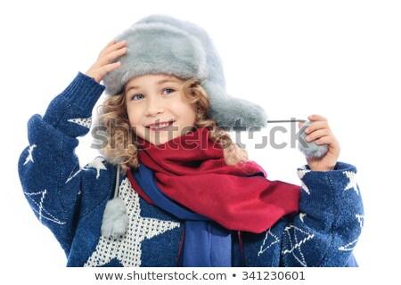 belle · sexy · girl · blanche · fourrures · chapeau - photo stock © carlodapino