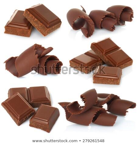 Chocolate bloques marco leche oscuro blanco Foto stock © zhekos