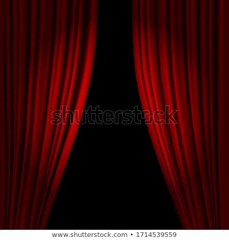 Rood theater fluwelen gordijn muziek Stockfoto © grivet