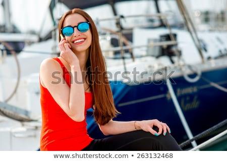 小さな 船乗り 話し 電話 美人 衣装 ストックフォト © Aikon