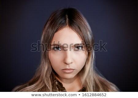 jovem · mulher · escuro · menina · cara · olhos - foto stock © photography33