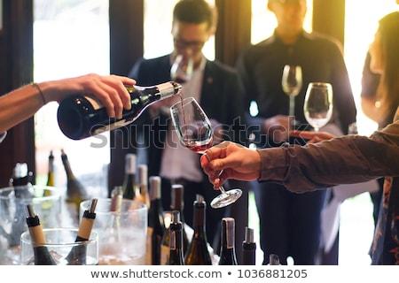 Wijnproeven portret prachtig brunette vrouw meisje Stockfoto © lithian