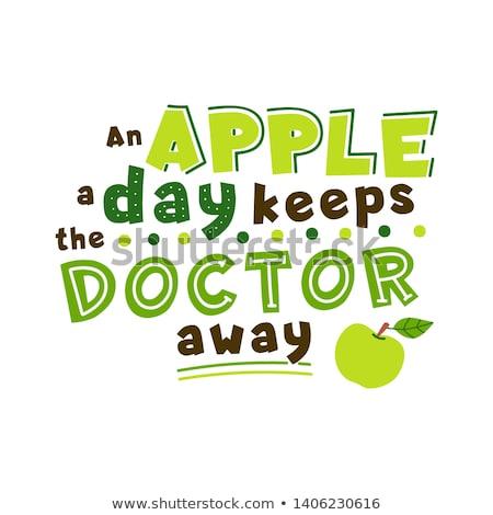 maçã · dia · médico · longe · palavras · lousa - foto stock © lithian